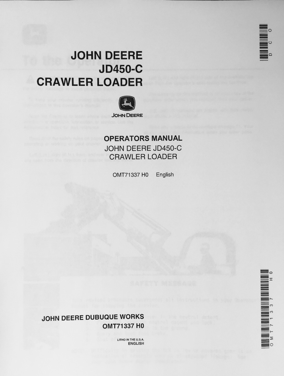 john deere 450 dozer parts manual